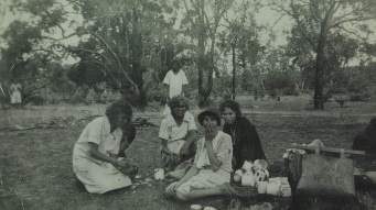 A history image of Aboriginal women peeling potatoes