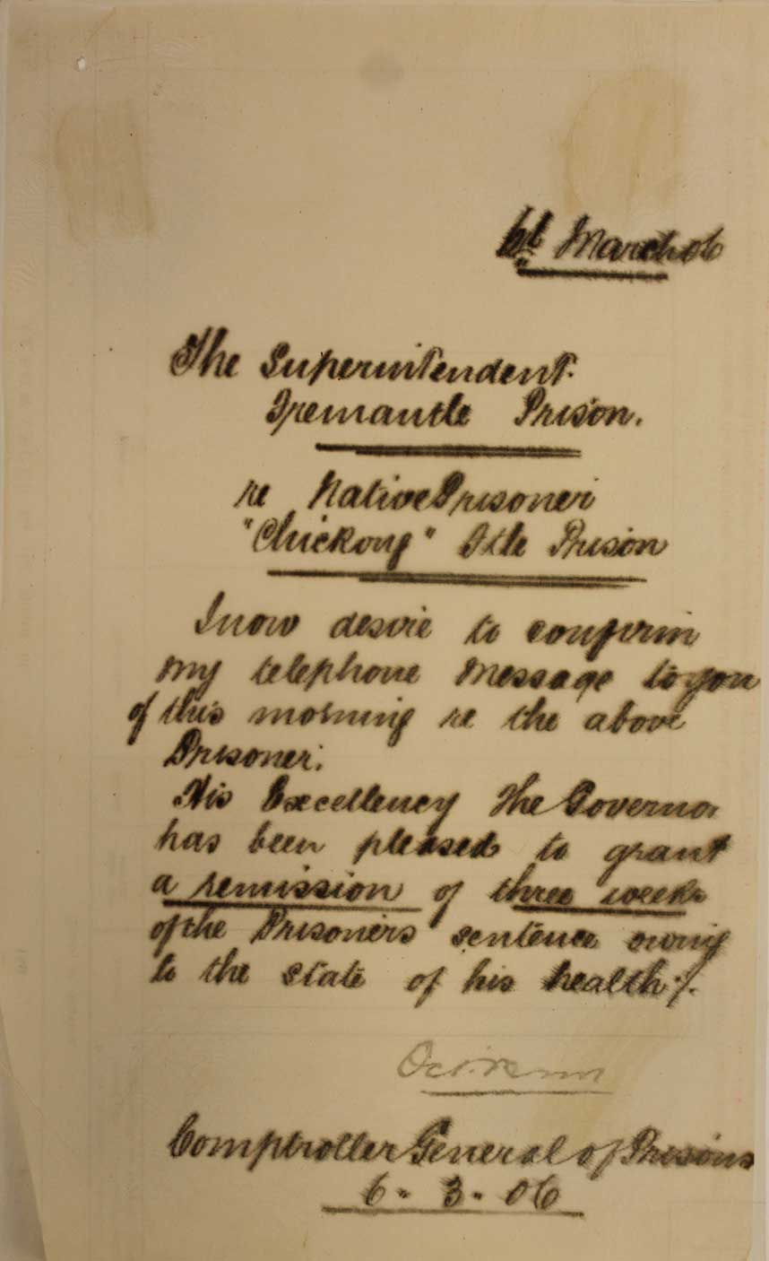 Gaols Department correspondance showing Chickong's Remission of sentence, 1905