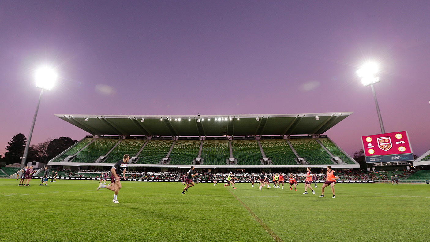 A general view of play during a Queensland Maroons State of Origin training session at HBF Park on June 19, 2019 in Perth, Australia. (Photo by Will Russell/Getty Images)