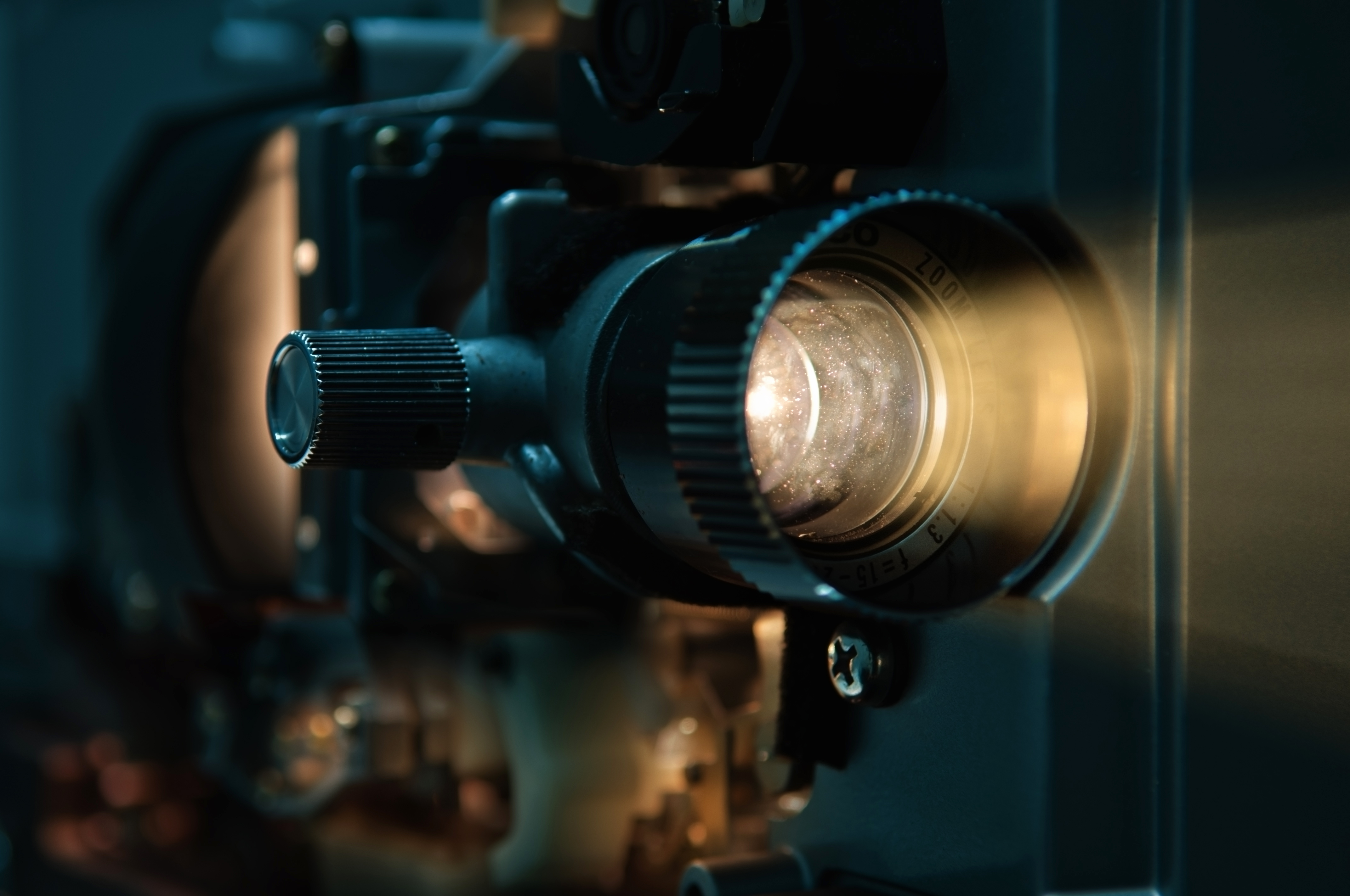 A close up photo of a cinema projector