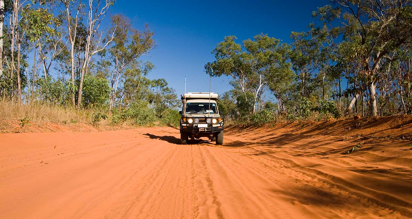 Cruising the dirt roads on the Dampier Peninsula near Cape Leveque in northern Western Australia.