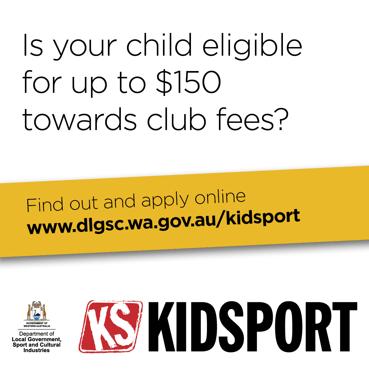 KidSport website image Is Your Child Eligible words only