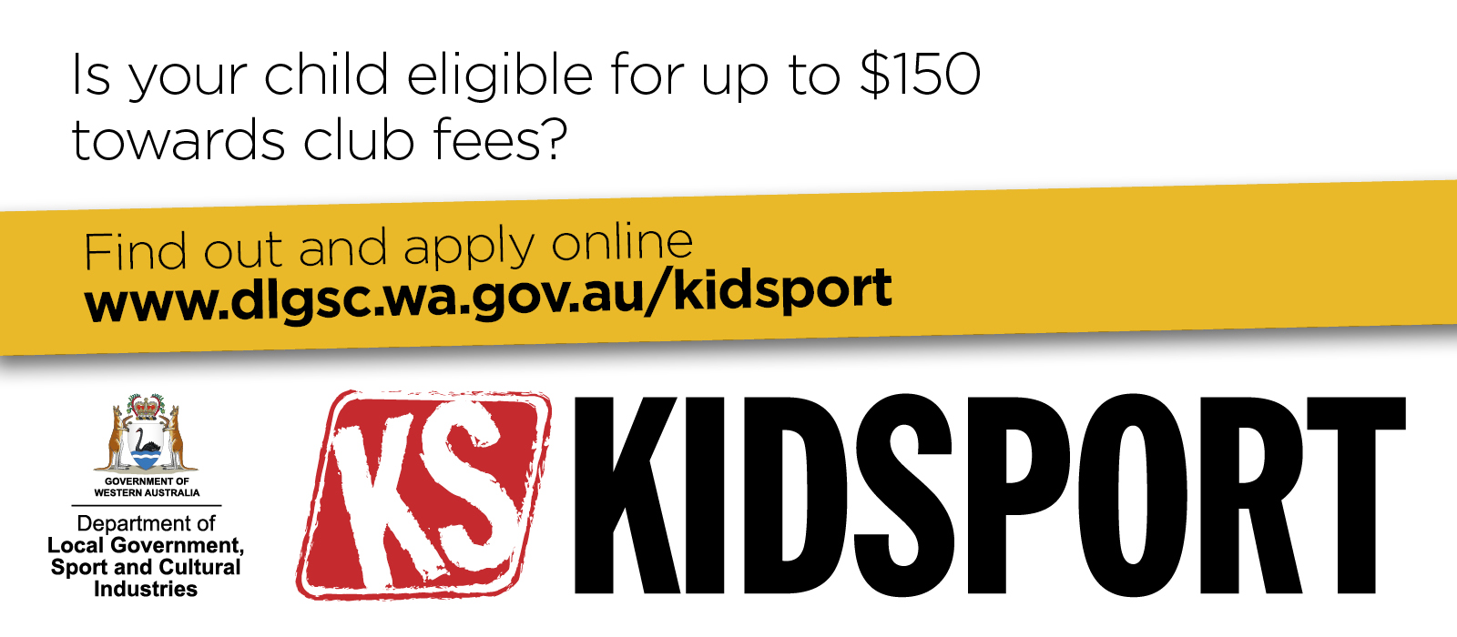 KidSport website images your child eligible words only