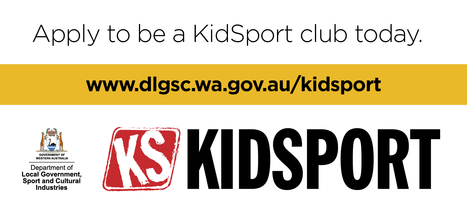 KidSport website images Apply to be a KidSport club today words only