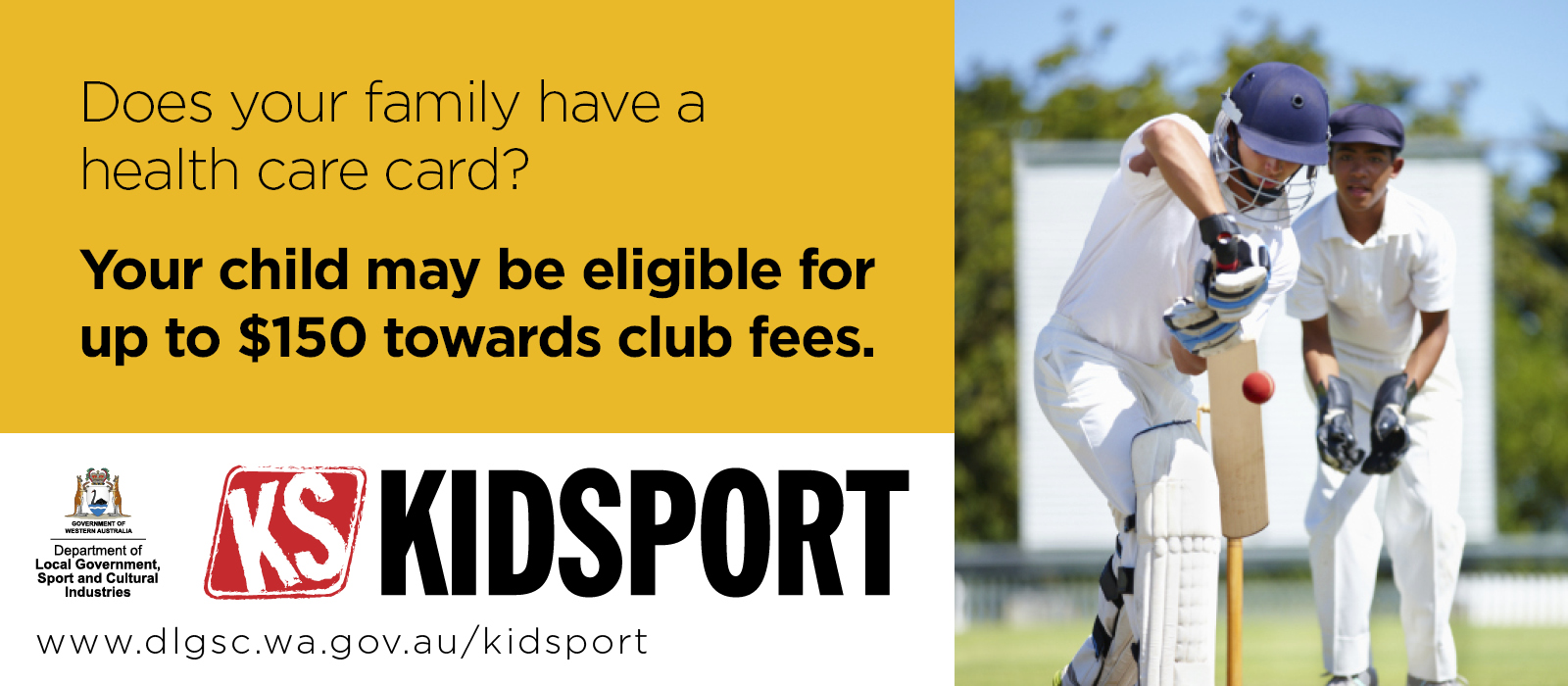 KidSport  - Does your family have a health care card