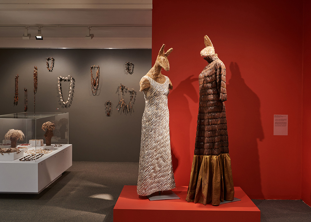 'Kangaroo Couple', 1995-2008, wollen gown, plant dyed silk, Xanthorrhea bracts, silk strings, common fodder, cotton mannequins. On loan Kerry Stokes Collection, Perth. Artist: Nalda Searles. Photographer: Rebecca Mansell.