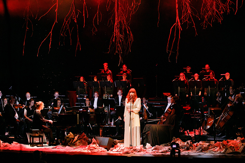 Mia Brine, West Australian Symphony Orchestra, Voyces and Rachael Dease in 'Hymns for End of Times', by Rachael Dease at Perth Festival, His Majesty's Theatre, Perth, February 2021.