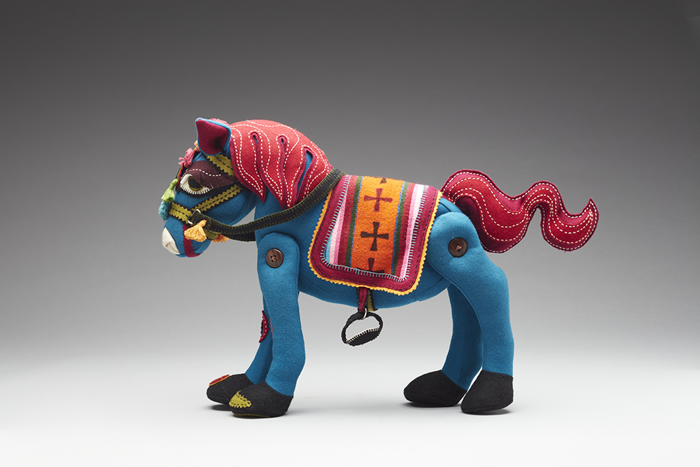 Tibetan Horse, by Susie Vickery, at Toy Stories, Midland Junction Arts Centre;  Perth; November 2021. Photo by Acorn Studio