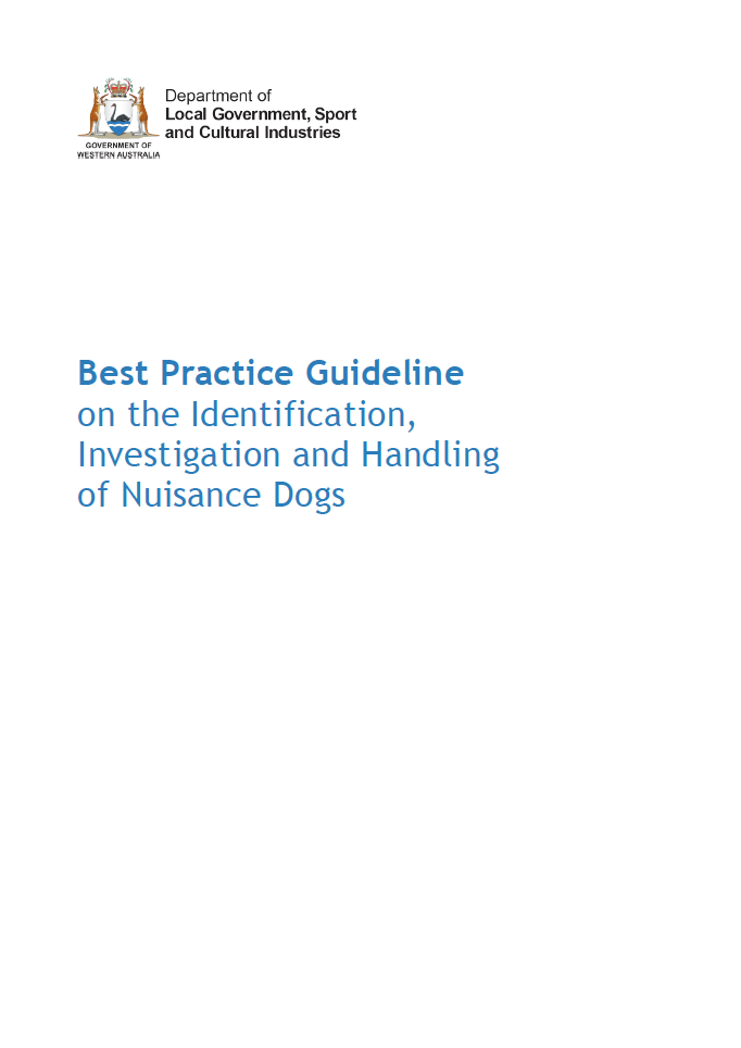 C:\Users\gwhite\DLGSC\DLGSC Website - Documents\Content\Images\Best Practice Guideline on the Identification, Investigation and Handling of Nuisance Dogs cover
