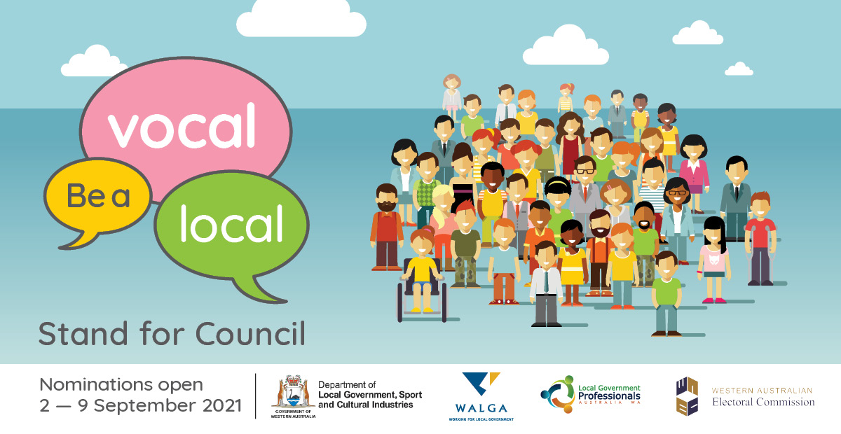 Illustration of people with the message: Be a vocal local