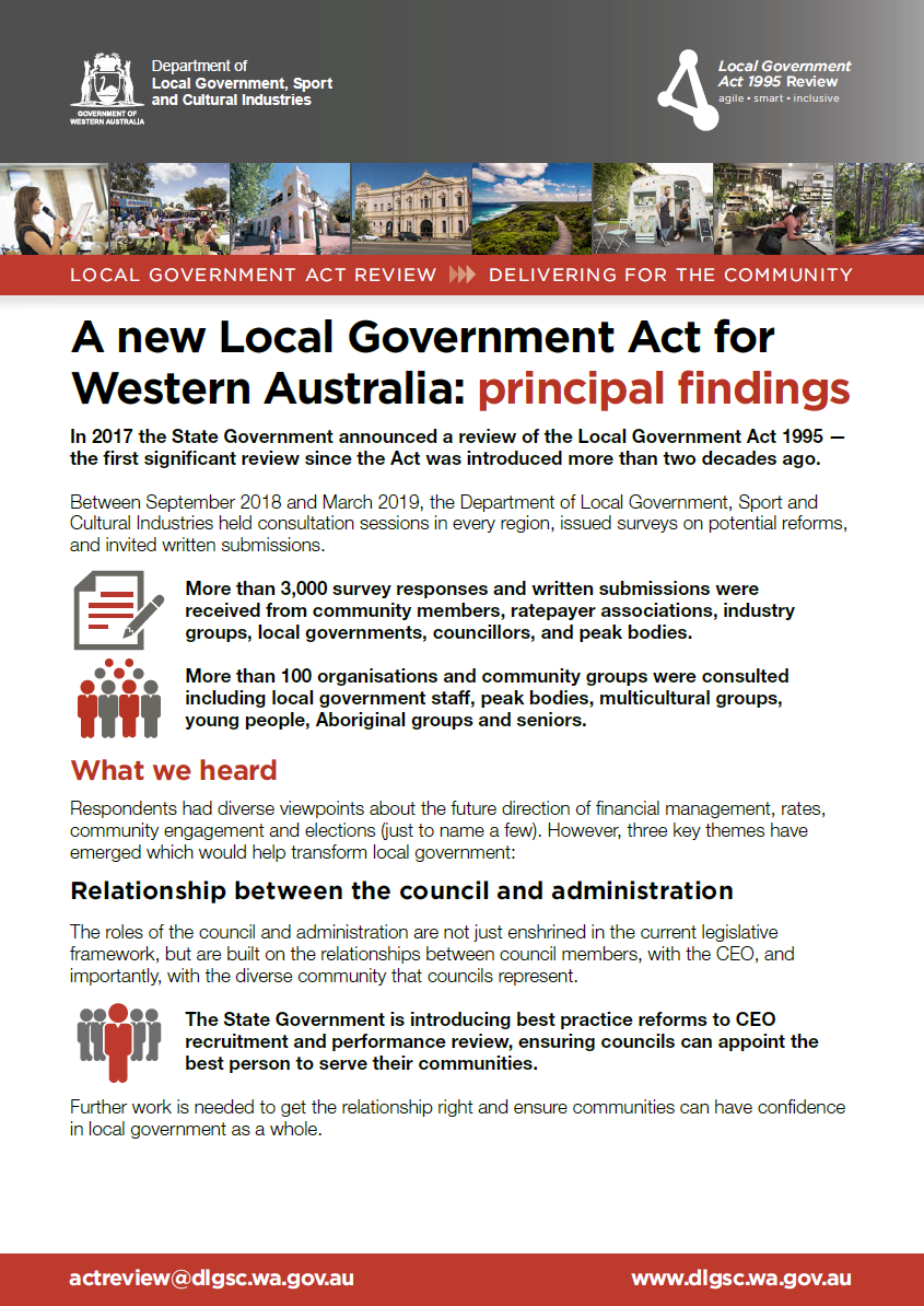 A new Local Government Act for Western Australia: principal findings