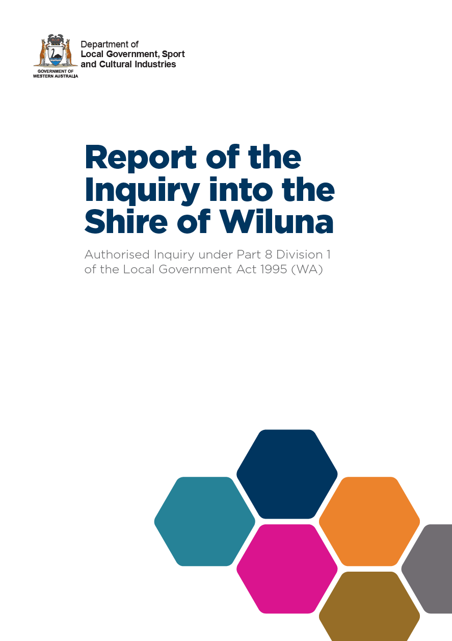 Report of the Inquiry into the Shire of Wiluna cover
