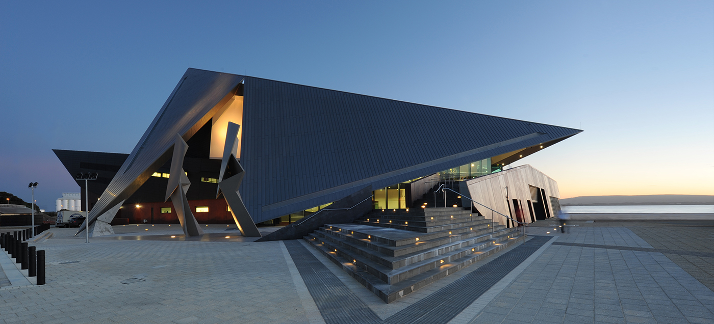 View of the Albany Entertainment Centre exterior at dawn. Photo by Alison Paine.