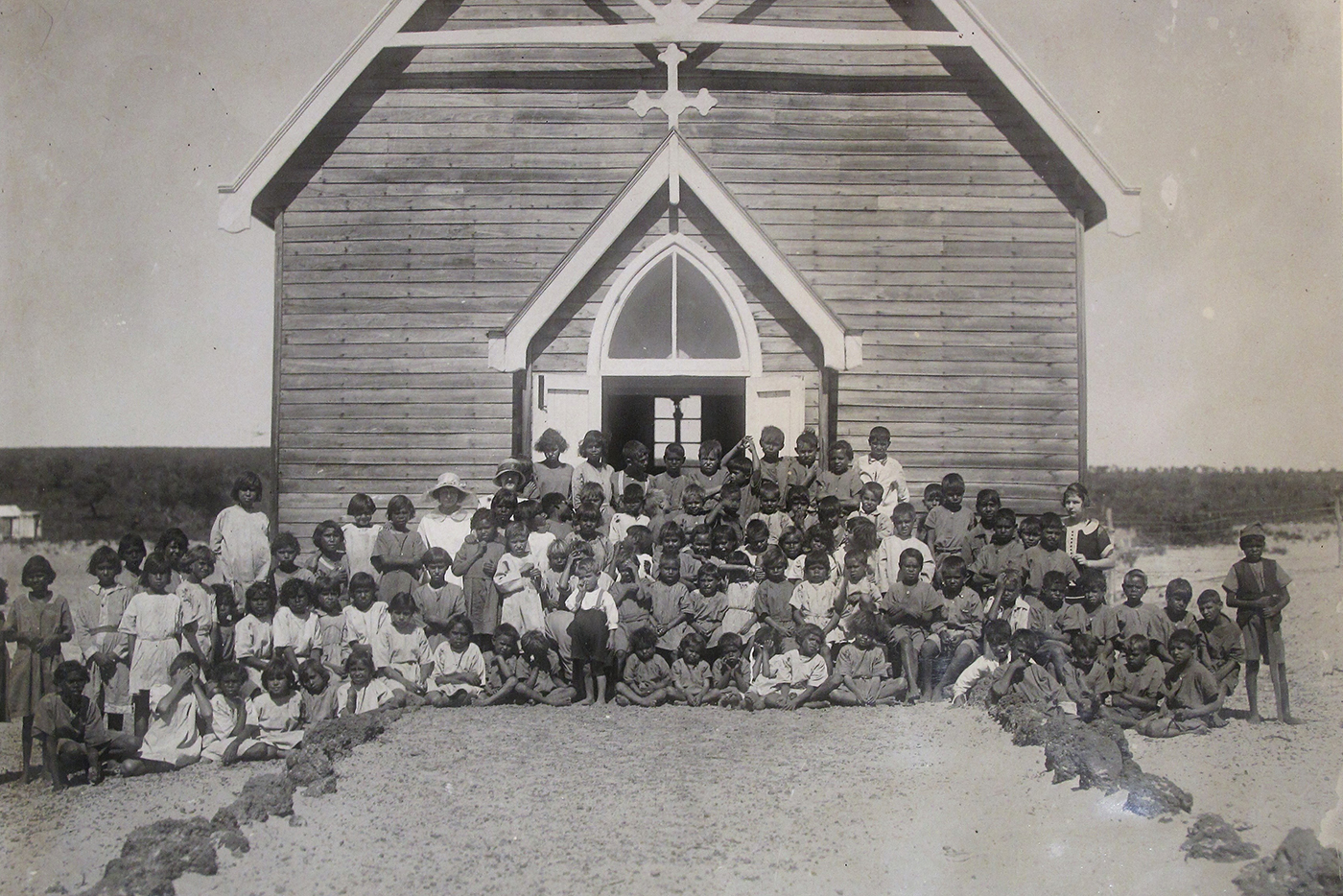Aboriginal children at Moore River Settlement Church, courtesy of the AHWA collection.