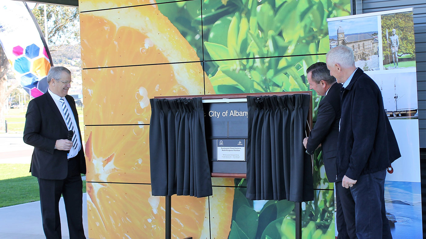 Premier Mark McGowan, Speaker Peter Watson MLA Member for Albany and Mayor City of Albany Dennis Wellington opening the Centennial Park Sporting Precinct in Albany