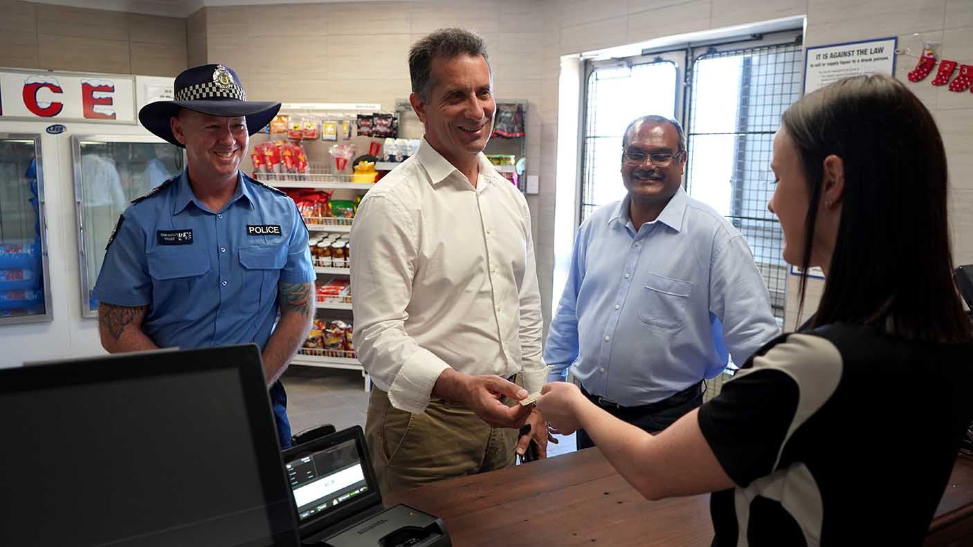 Minister Paul Papalia MLA at a liquor store