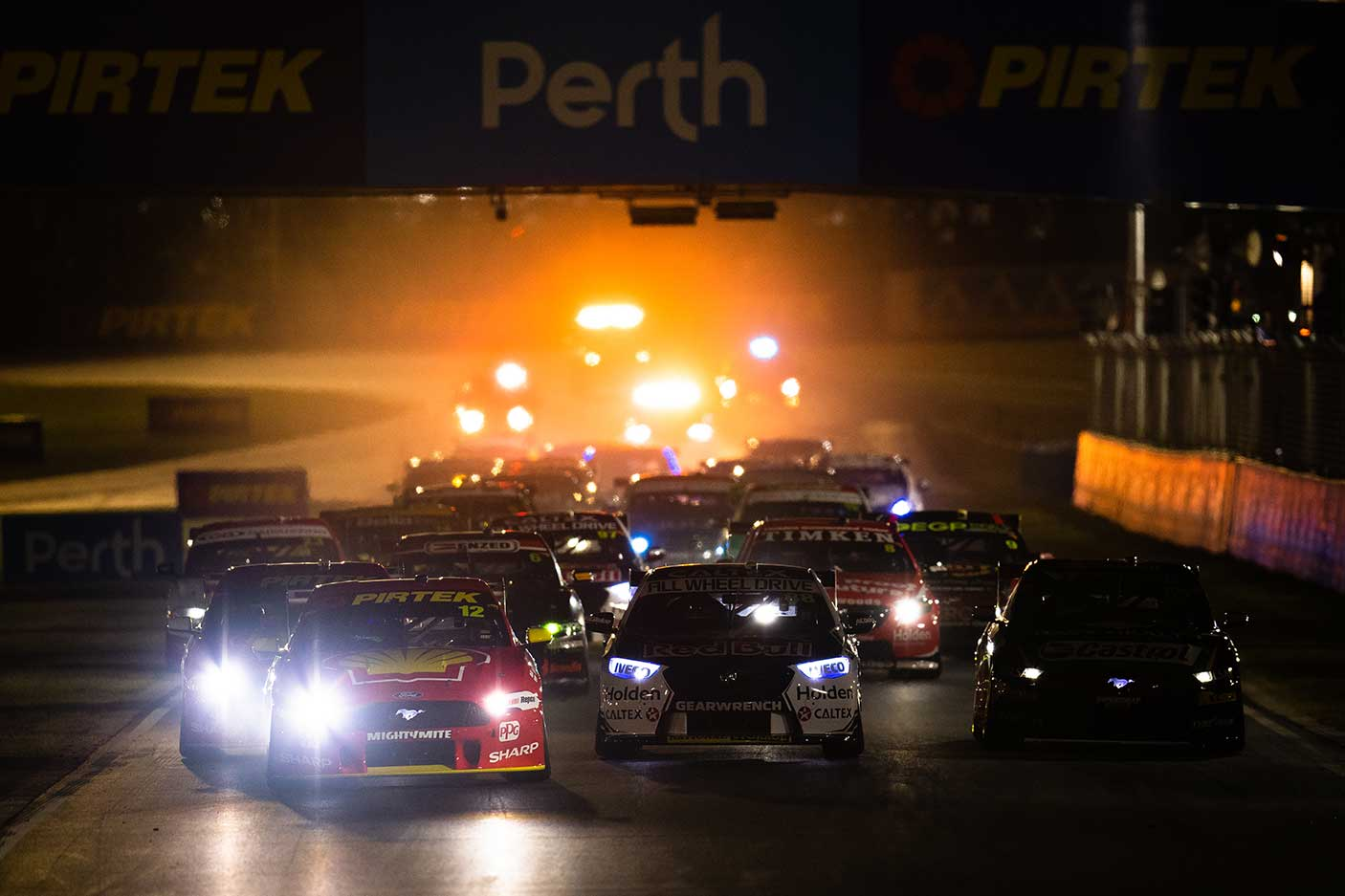 Fabian Coulthard drives the #12 Shell V-Power Racing Team Ford Mustang during race 1 for the Perth Supernight as part of the 2019 Supercars Championship at Barbagallo Raceway on May 03, 2019 in Perth, Australia