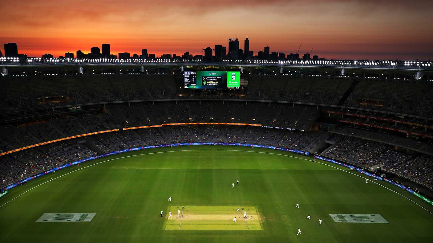 A general view at sunset during day four of the First Test match in the series between Australia and New Zealand at Optus Stadium on December 15, 2019 in Perth, Australia.