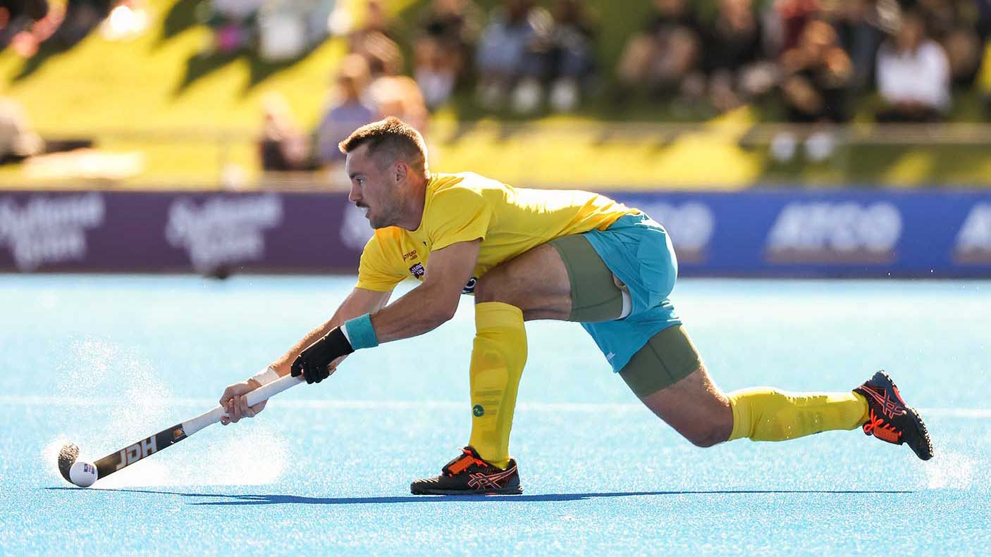 Jeremy Hayward of the Kookaburras in action during the FIH Pro League