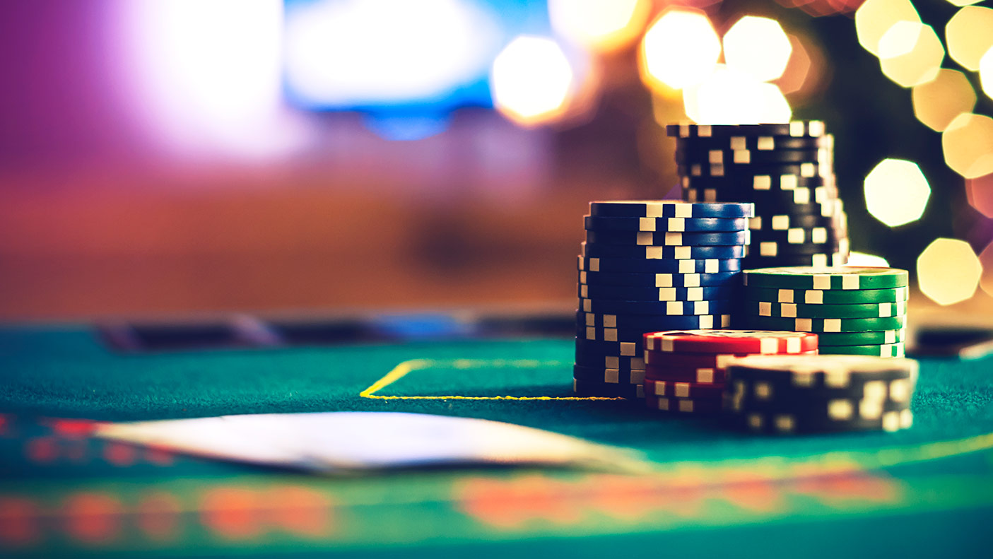 Close up image of casino chips