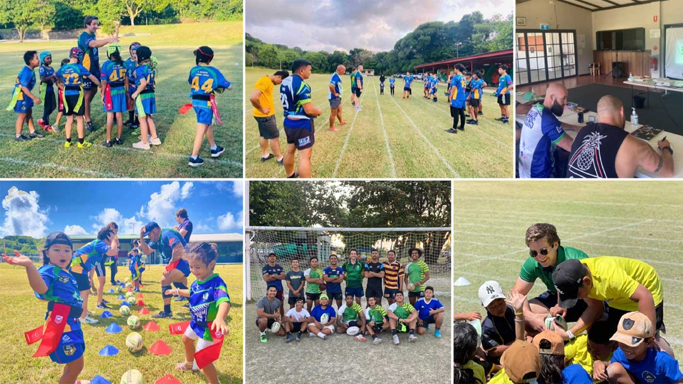 Montage of people participating in rugby league on Cocos Island