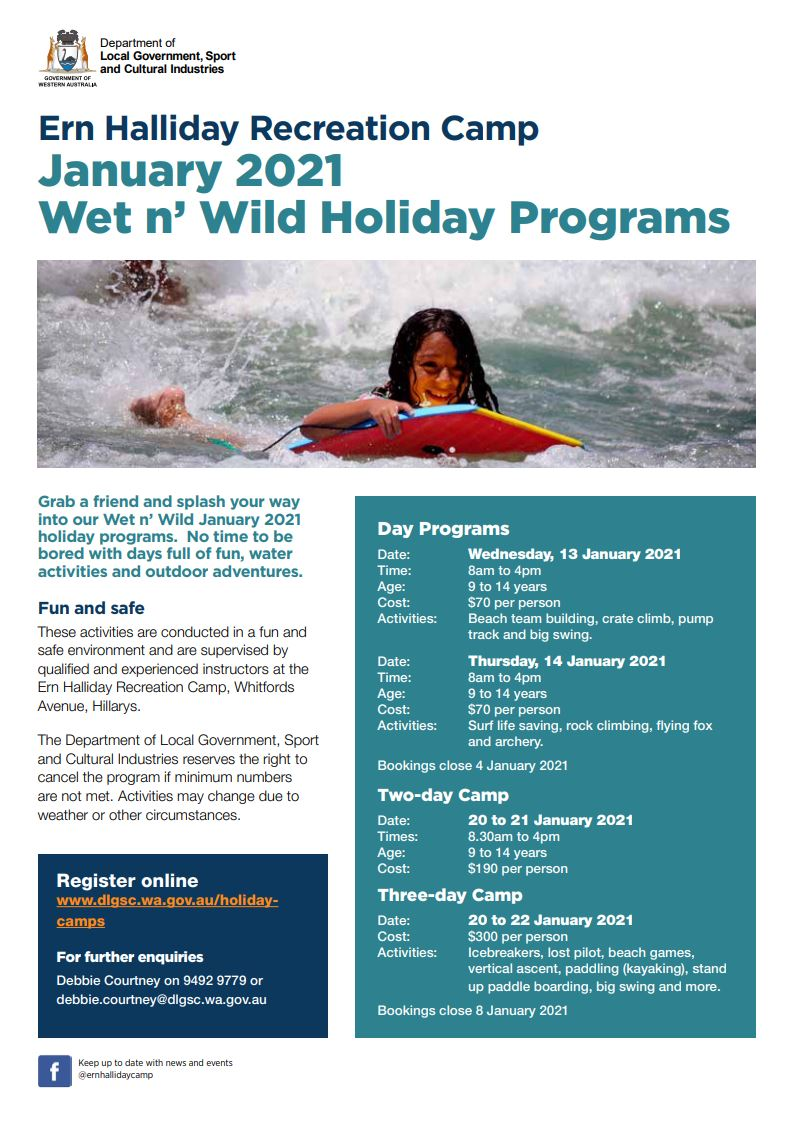 Flyer for the Ern Halliday Wet n' Wild January 2021