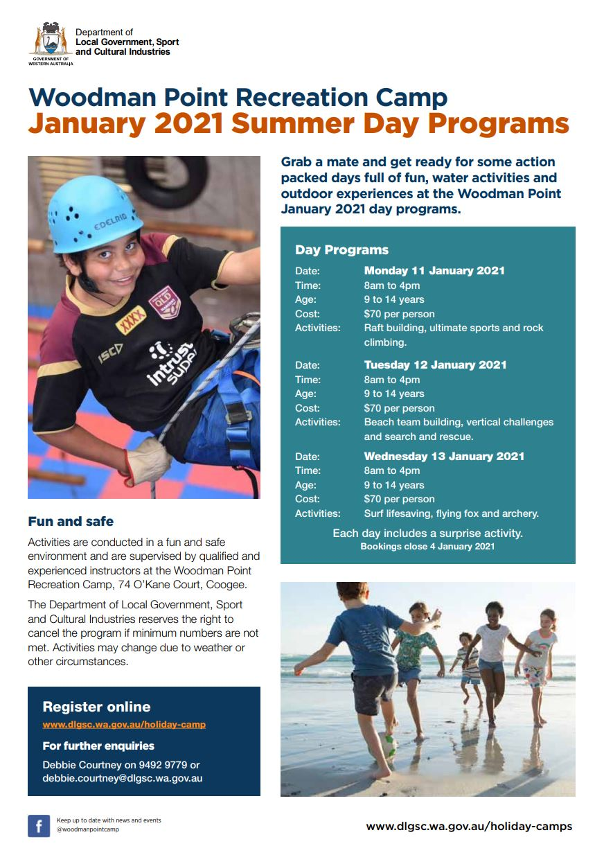 Woodman Point Summer day programs January 2021 flyer