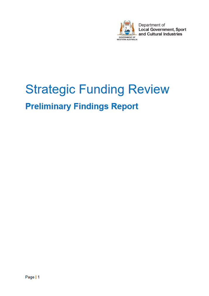 Strategic Funding Review Preliminary Findings Report cover