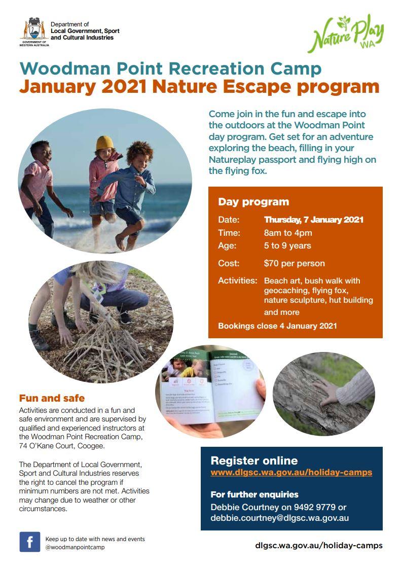 Woodman Point Nature Escape program Jan 2021 flyer