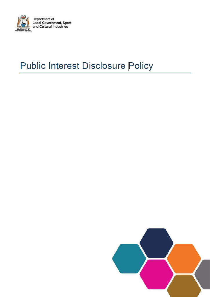 Public Interest Disclosure Policy cover